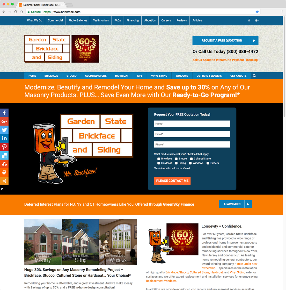 Garden State Brickface And Siding Website | Click Here To Visit U003e   CGI  Advertising | Coordinated Graphics, Inc.